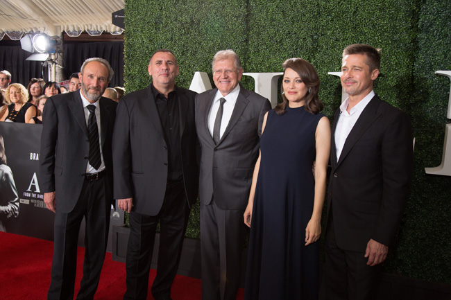 Producer Steve Starkey, Producer Graham King, Director Robert Zemeckis, Marion Cotillard, and Brad Pitt arrive at the Allied Red Carpet Fan Event at the Regency Village Theater in Los Angeles, CA...(Photo: Alex J. Berliner / ABImages)