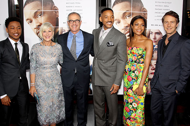 """- New York, NY - 12/12/16 - New York Premiere of New Line Cinema, Village Roadshow Pictures and Warner Bros. Pictures Present """"Collateral Beauty"""". -Pictured: Jacob Latimore, Helen Mirren, David Frankel (Director), Will Smith, Nomie Harris, Edward Norton -Photo by: Marion Curtis/StarPix -Location: The Jazz at Lincoln Center's Frederick P. Rose Hall"""